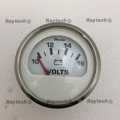Faria VP4097A 10-16 Volt Gauge Silver Bezel and white
