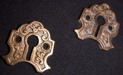 Pair of Original 1880's Cast Brass Foliated Scroll Work Key Covers