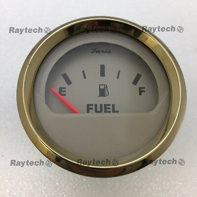 Faria GP4907A Fuel Gauge 240 - 33 ohm Gold Bezel / Beige