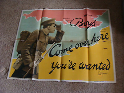 "Original WWI Poster: 40 x 50"" BOYS COME OVER HERE YOUR WANTED english c. 1915"