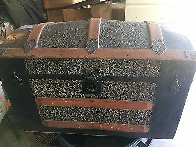 Antique Camelback Dome Steamer Trunk Luggage or Box