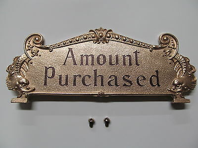 National Brass Cash Register Red Brass 313 Reproduction Top Sign