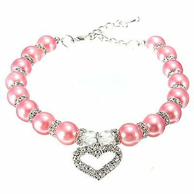 mode animal de compagnie amour coeur perle collier M1