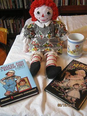 Vintage Unusual Raggedy Ann Doll Handmade Rag Doll  embroidered face and dress
