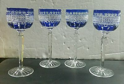 """4 Crystal Cobalt Blue Cut to Clear Wine Water Glasses Goblets 7 3/4"""" High"""