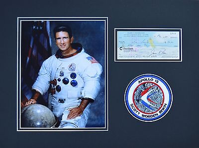 James Irwin Signed & Mounted Apollo 15 Photo & Cheque Presentation - Moonwalker