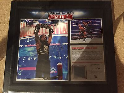 WWE Wrestlemania 32 Commerorative Plaque Signed by Roman Reigns Rare