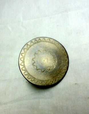 Vintage Brass Curtain Tie Back Hand Etched Sun Design W Threaded Nail FOLK ART