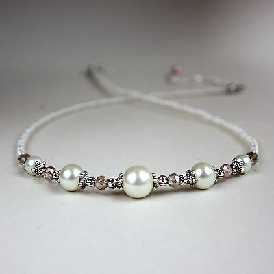 Cream ivory pearls crystal silver collar choker vintage style beaded necklace