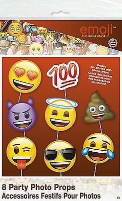Unique Emoji Faces Photo Booth Props, 8 Piece