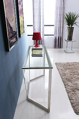 Elegant Stainless Steel Console With Clear Glass Top.