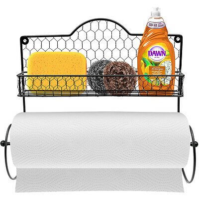 Wall Mounted Rustic Gray Metal Kitchen Spice Rack & Paper Towel Holder