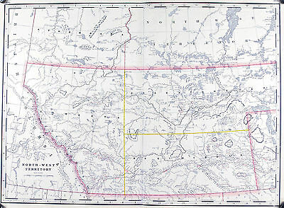 North-West Territory Canada Antique Map 1887