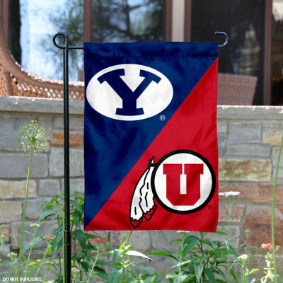 Brigham Young vs. Utah House Divided Garden Flag and Yard Flag