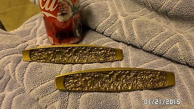 "465D Vtg Pair of '60's Drawer Handles 6"" Wide 2 3/4"" Centers Brass Finish K12726"