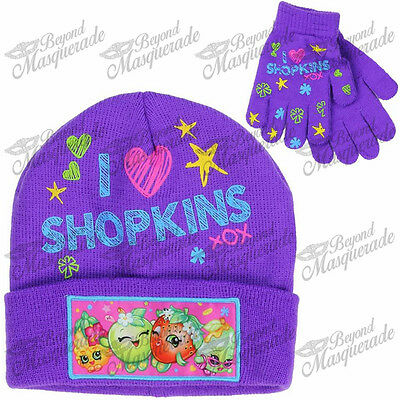 New Team Shopkins Purple Beanie Cap Hat And Gloves 2pc Set for Girls Kids