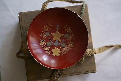 Japanese lacquer wooden sake cup from Shiga Prefecture, cherry blossoms etc