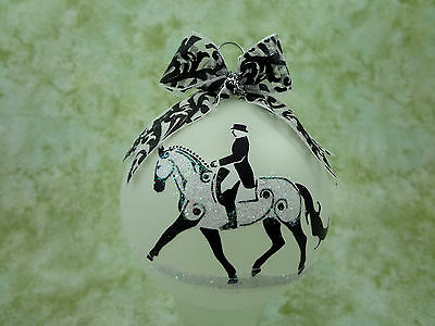 T001 Hand-made Christmas Ornament stylized HORSE tattoo - dressage extended trot