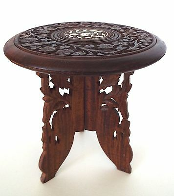 Carved Wooden Stool Made in India Portable Folding Arts & Crafats Nouveau Table