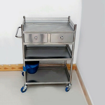 3 Layers Serving Medical F809W Dental Lab Cart Trolley Well Stainless Steel