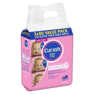 Curash Babycare Fragrance Free Wipes 3 x 80