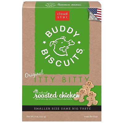 Cloud Star Itty Bitty BUDDY BISCUITS Grain Free Dog Treats Roasted Chicken 8 oz