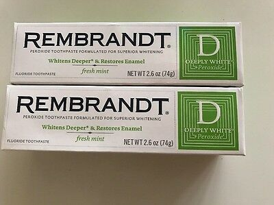 2 x 74g Rembrandt Deeply White + Whitening Toothpaste with Fluoride, Fresh Mint