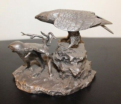 Pewter Sculpture Peregrine Falcons by Gilroy Roberts Franklin Mint 1977
