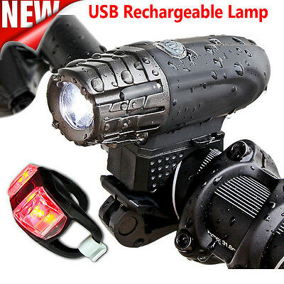 USB Rechargeable 360° Rotation Bike Bicycle Front Lamp Headlight +Rear Light Set