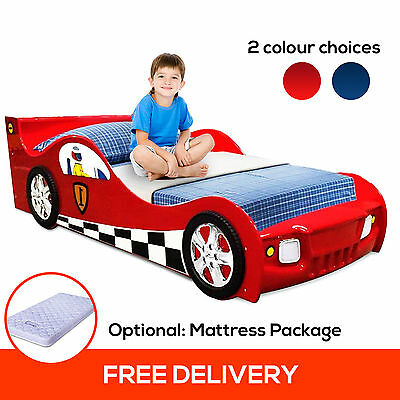 NEW Kids Racing Car Bed Single 3D Wheel Childrens Bedroom Furniture Race Bedding