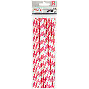 NEW American Crafts - Details Lined Paper Straws 24 Pack - Parfait