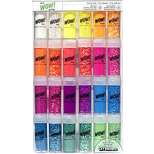 NEW American Crafts  Wow! Extra Fine Glitter .88Oz 24 Pack Neon