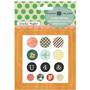NEW Crate Paper - Story Teller - Fabric & Epoxy Brads 13Pc