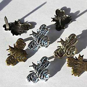 NEW Eyelet Outlet Shape Brads 12 Pack - Bees - Silver & Gold
