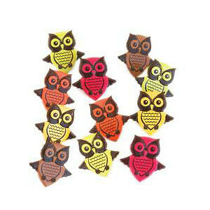 NEW Eyelet Outlet Shape Brads 12 Pack  Owls - Bright