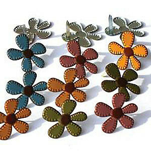 NEW Eyelet Outlet Shape Brads 12 Pack Stitched Flowers - Fall