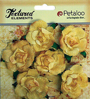NEW Petaloo - Textured Elements Canvas Rosettes 1.5Inch 6 Pack  - Yellow