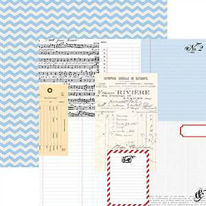 Teresa Collins - Stationery Noted - Ledgers 12X12 D/Sided Paper  (Pack Of 10)