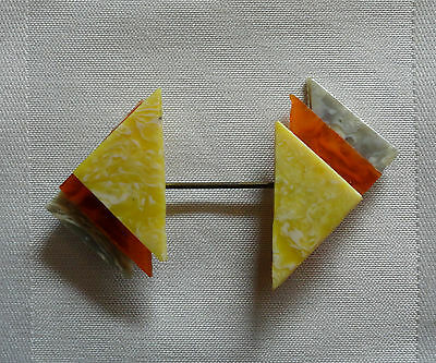 Art Deco Jabot Pin Hat Scarf Collar Celluloid Marbled Amber Grey Yellow