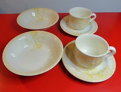 Gien France Capucines Breakfast Set 2 Cups Saucers Cereal Bowls Yellow Floral