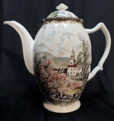 Friendly Village Johnson Bros Tall Coffee or Teapot Made in England