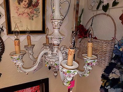 Capodimonte Porcelain Chandelier Vintage Italian Gold Tole Pink Yellow  Roses