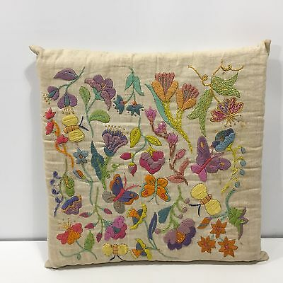 Vintage Retro Crewel Embroidery Chair Cushion Pillow Flower Power Groovy Floral