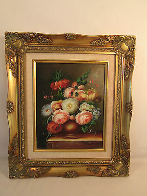 Floral Painting On Board Artist Signed Ornate Gold Frame D