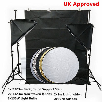 Photo Studio Lighting Kit Backdrop Support System Background Stand 2.8*3m UK Top