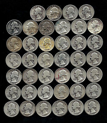 """ROLL OF WASHINGTON QUARTERS  90% Silver  (40 Coins) """"WORN/DAMAGED"""" LOT D98"""