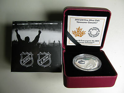 2015 Proof $10 NHL-Vancouver Canucks Canada .9999 silver ten dollars