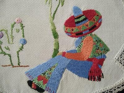 Exceptional Mexican/costume/Siesta/Cactus~Vintage Heavily Hand Embroidered Doily