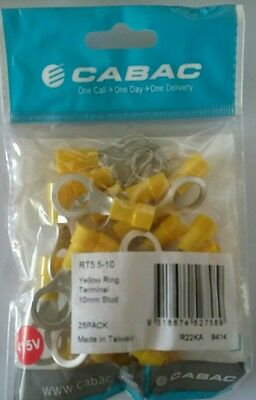 Electrical Connectors . Yellow Ring Terminals 10 mm stud.Pack of 25
