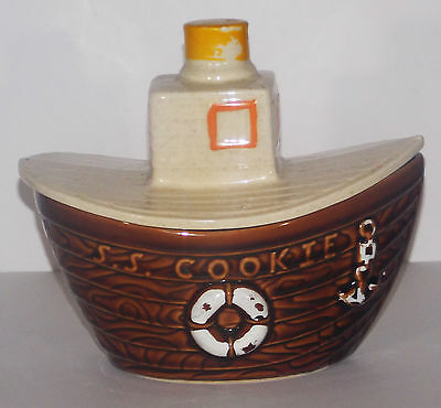 "McCoy S.S. Cookie Tug Boat Jar USA Vintage Brown #354 8.5"" x 7"" Pottery"